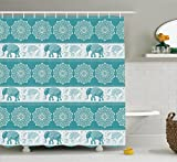 Ambesonne Elephants Decor Collection, Pattern in Ethnic Style Elephant and Tradition Eastern Vintage Oriental Curve Festive Image, Polyester Fabric Bathroom Shower Curtain, 84 Inches Extra Long, Teal