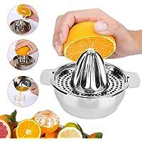 Exprimidor manual de acero inoxidable, Exprimidor de cítricos, Exprimidor manual, Exprimidor de naranjas, lima y frutas con colador para exprimidor de tazones