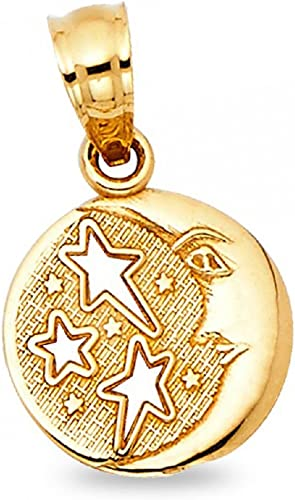 14k Moon /& Stars Pendant 14 kt Yellow Gold