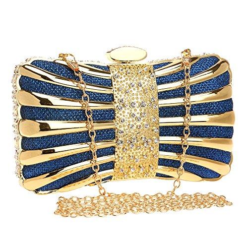 Borsa Women Sera Metal Dress Donna Nero Clutch Clutch colore Waveni Blu Banchetto E8C4wq
