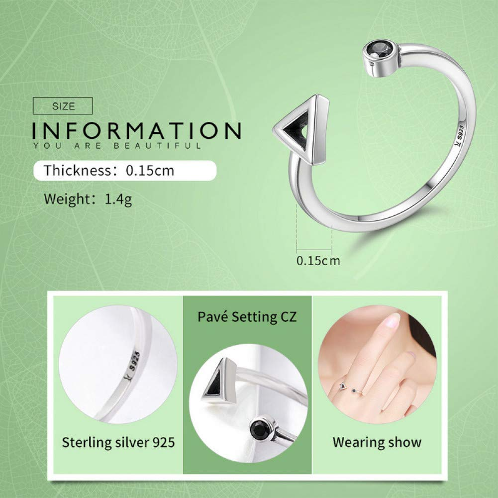 HCBYJ Lady ring 925 Sterling Silver Round Geometry and Triangular Opening Finger Ring Ladies Sterling Silver Jewelry Gift