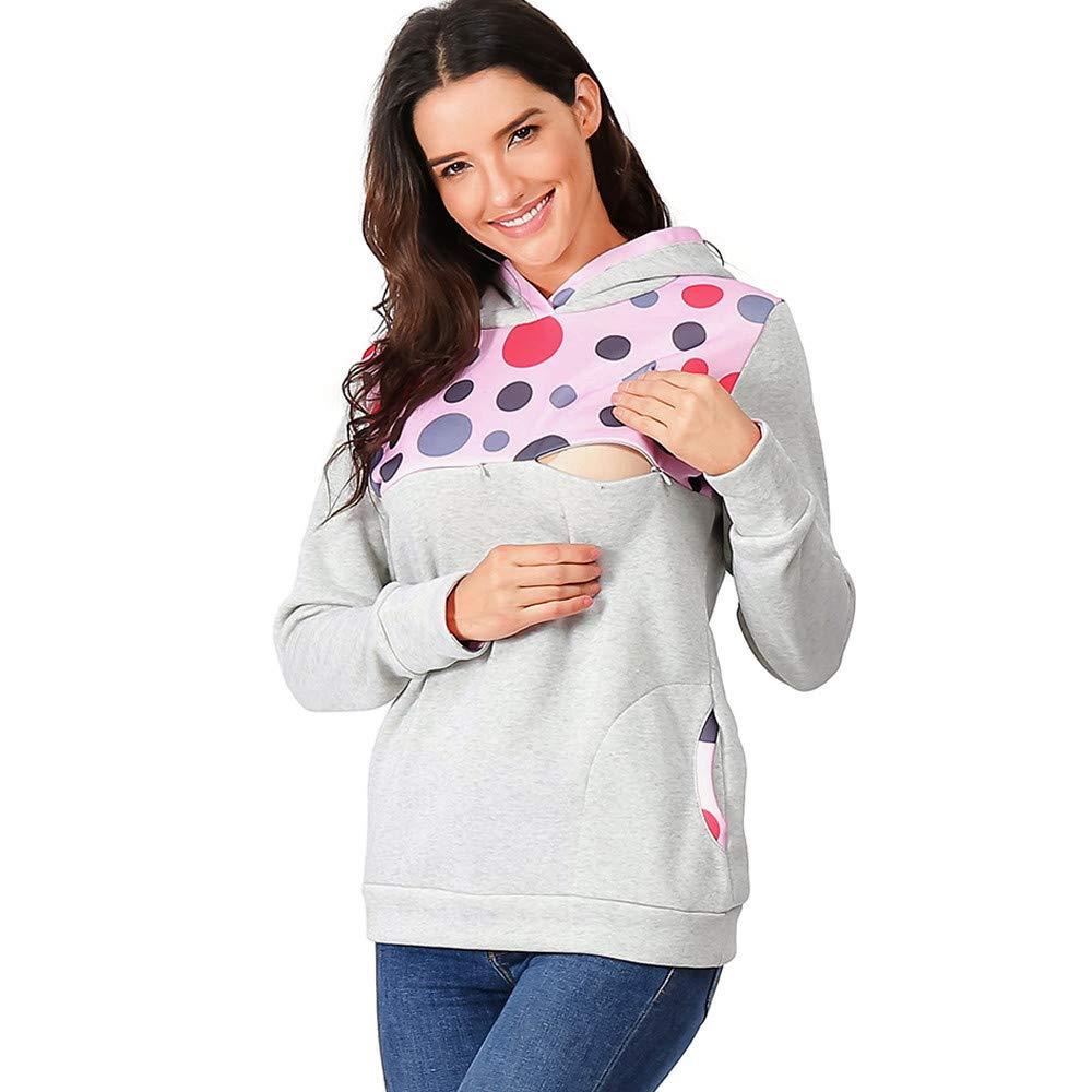Winsummer Women's Soft Maternity Nursing Hoodie Sweatshirt Long Sleeve Patchwork Zipper Pullover Top