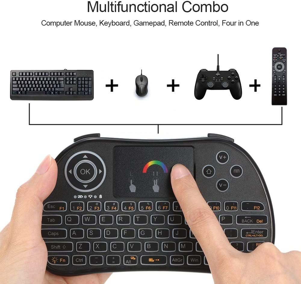 Color: with battery Calvas 2.4GHz Keyboard RGB Colorful Backlit Wireless Keyboard with Touchpad Mouse Remote Control for Android TV BOX HTPC PC