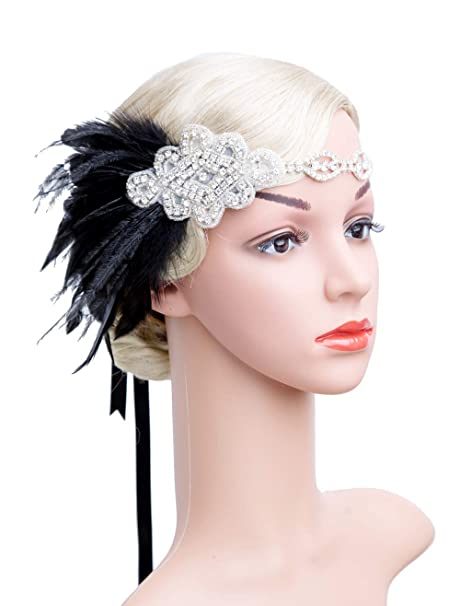 6896e12fe81 Women s Flapper Headpiece 1920s Gatsby Crystal Headbands for Women Headband  with Feather Ostrich (Black)