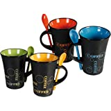 LIVIVO ® Set of 4 Stylish Ceramic Coffee Mugs with Matching Colour Spoons in Handle Slot