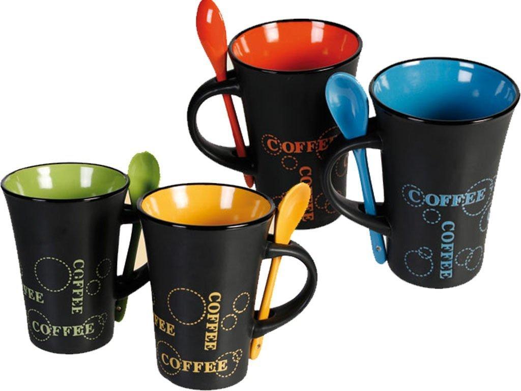 FiNeWaY@ LIVIVO SET OF 4 COFFEE MUGS WITH SPOON TEA SET DRINK LATTE CUPS CERAMIC KITCHEN ESPRESSO