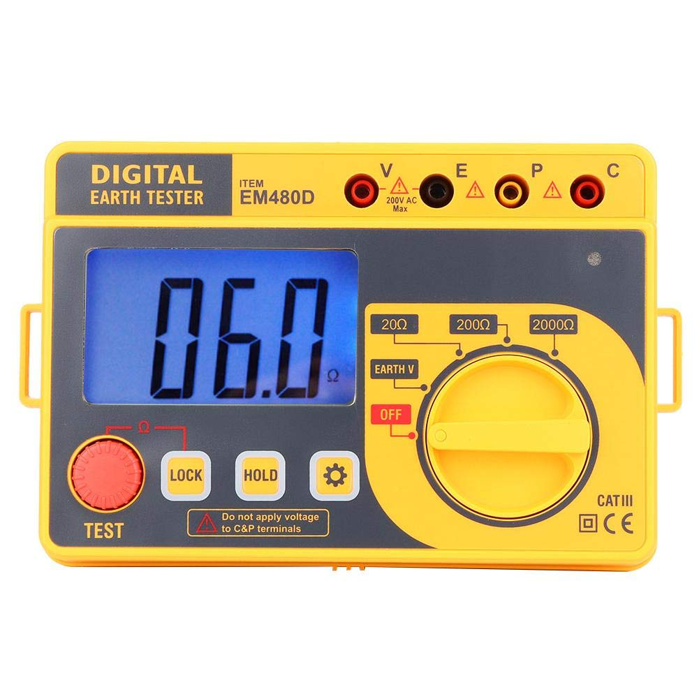 Digital Handheld Resistance Tester EM480D Portable High Sensitivity Digital Earth Grounding Resistance Tester Electrical Meter with LCD Backlight