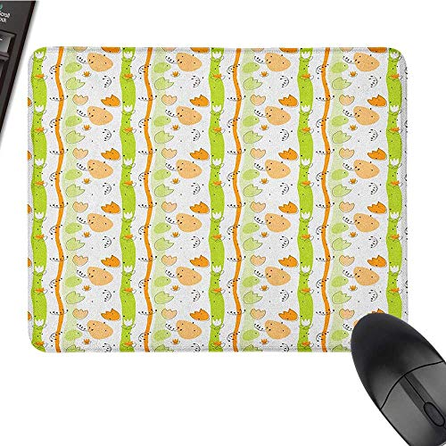 (Ergonomic Mouse pad Abstract,Cartoon Style Floral Pattern with Vertical Stripes Background, Pale Orange Apple Green Black Personalized Mouse pad 15.7 x23.6)