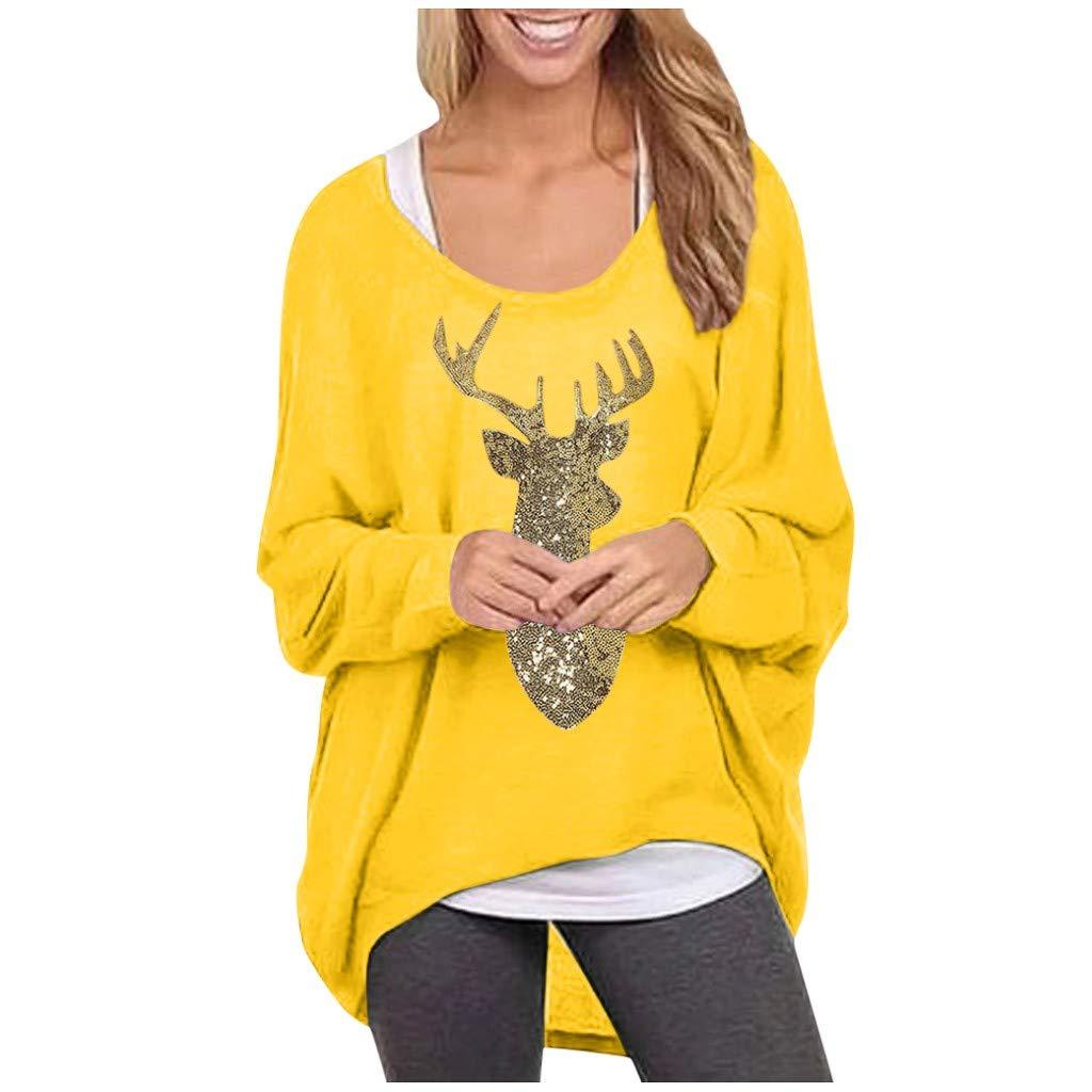 Women's Christmas Loose Tunic Tops Women Long Sleeve Round Neck Elk Print Casual Baggy T-Shirt