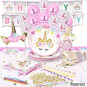 Rovercci Unicorn Party Supplies and Tableware Kit