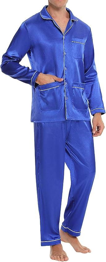 Aibrou Pijama Hombre, Conjunto de Pijama Seda Hombre Pijama de satén con Botones y Bolsillos, Pijama de 2 Piezas de Manga Largo Cómodo y Elegante para ...