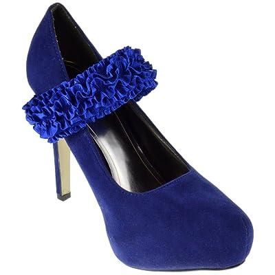 Avly 25 Ruffled Strap Mary Jane Pump Stiletto Heel Blue