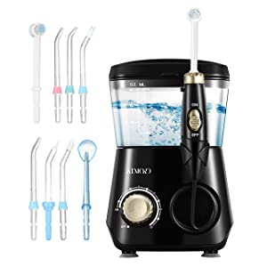 ATMOKO Water Dental Flosser Oral Irrigator 600ml with 8 Multifunctional Jet Tips, 3 Min Timer, Water Dental Pick for Braces Care & Teeth Cleaning, Quiet Design