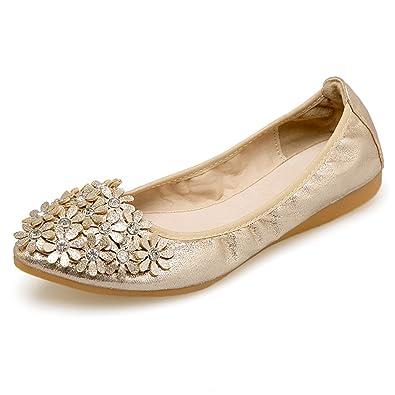 03c7260caf0b Meeshine Women s Wedding Flats Comfort Ballet Flats Shoes New Gold 5.5 US