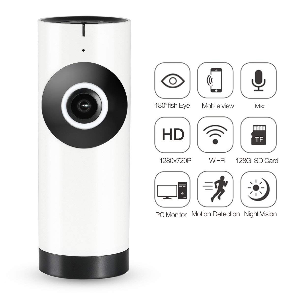Wireless Security Camera, WiFi HD Globe Camera 180 Wide Angle Fisheye For Home Security Baby Pet Surveillance with Motion Detection + Speaker and Microphone Night Vision