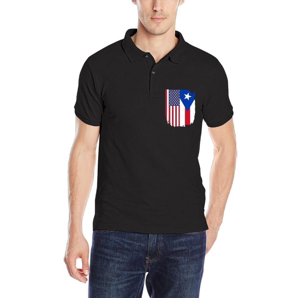American Puerto Rico Flag Mens Short-Sleeve Polo T Shirt