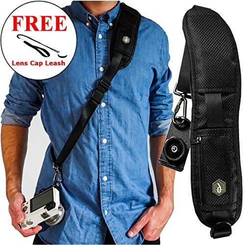 Dupe Accessories Quick Release Rapid Fire Camera Neck Strap w/Lens Cap Leash by Dupe Accessories