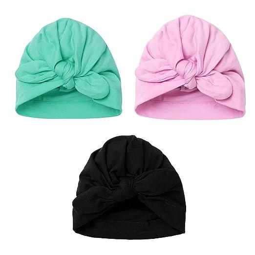 ranrann Set of 3 Newborn Baby Soft Knot Rabbit Turban Hospital Hat Cap Multicolor B One_Size