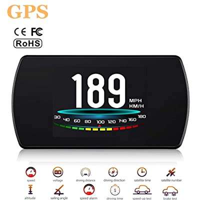 ACECAR Upgrade T800 Universal Car HUD Head Up Display Digital GPS Speedometer with Compass Driving Latitude and Longitude Speedup Test Brake Test Overspeed Alarm HD LCD Display for All Vehicle: Electronics