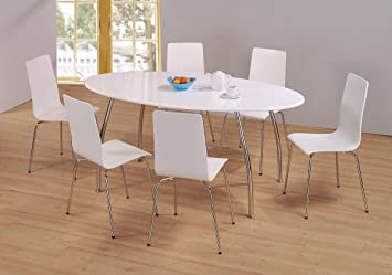 Kelsey Stores FIJI HIGH GLOSS OVAL DINING SET White Table 6 Chairs ...