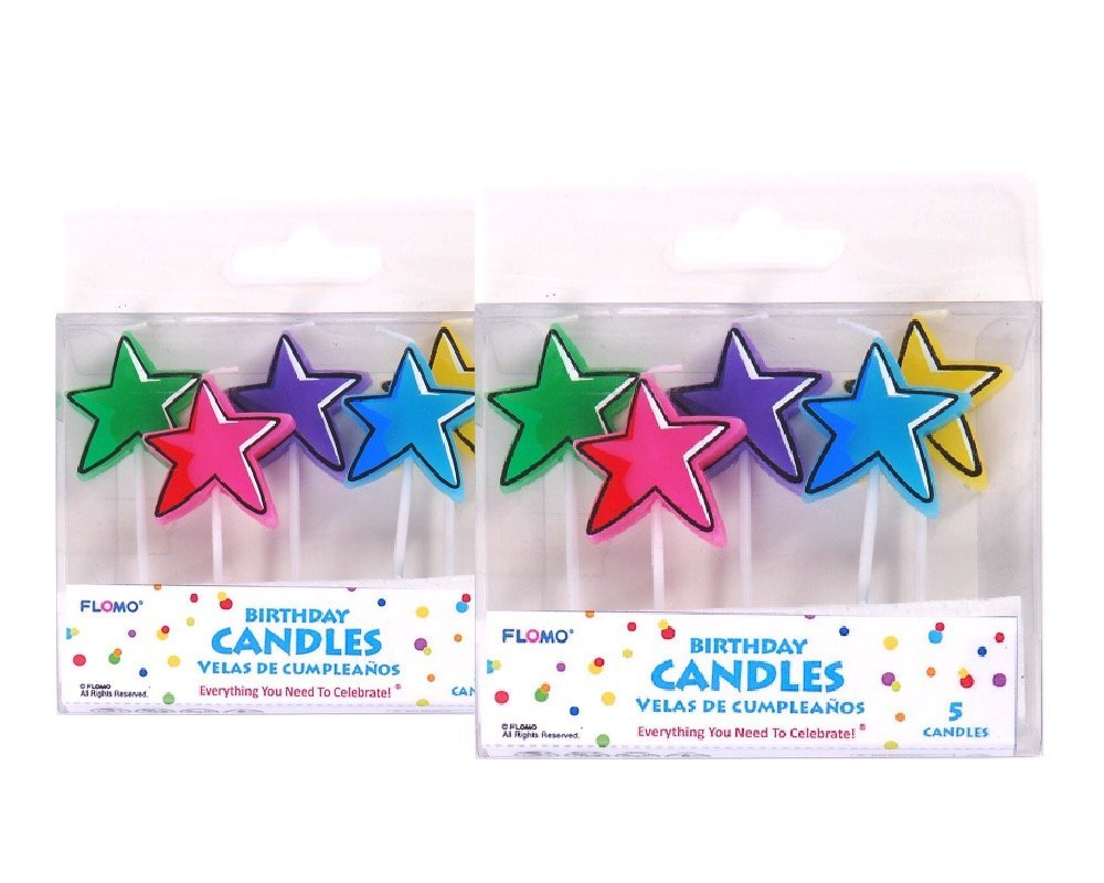 FLOMO Birthday Star Pick Candles - 2-Packs 10 Candles by Nygala Corp.