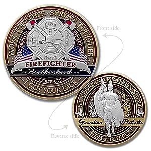 Firefighter Brotherhood Challenge Coin · Saint Florian Challenge Coin · Morale Challenge Coin from Armor Coin