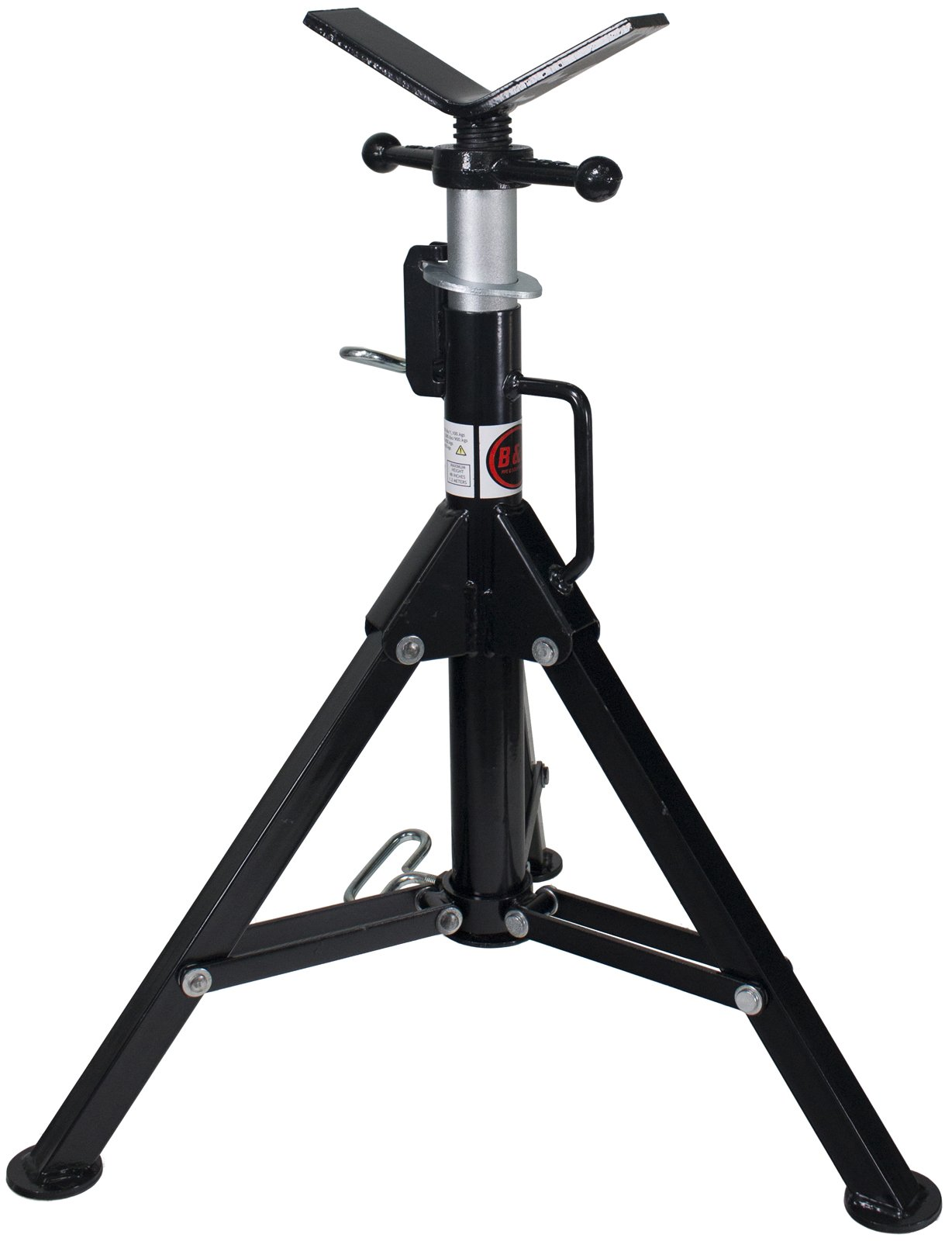 B&B Pipe 3900 High-Profile Adjustable Pipe Jack Stand with V-Head and Folding Legs for Pipe Fitting, Threading, Welding
