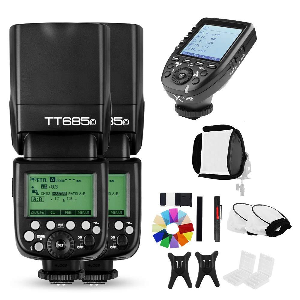 Godox 2x TT685Cフラッシュスピードライト、E-TTL IIオートフラッシュ付き および Xpro-CリモートフラッシュトリガーCanon EOS DSLRカメラ5D Mark III 5D MarkII 6D 7D 60D 50D 40D 30D 650D 600D 550D 500D (TT685Cx2 Xpro-C) TT685Cx2 Xpro-C  B07D74SCX8
