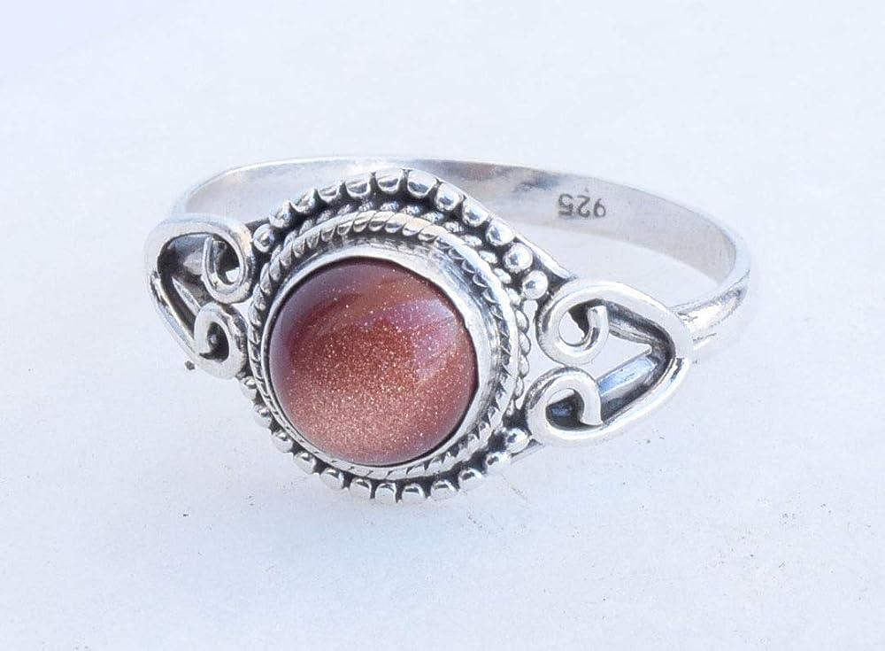 Sunstone Goldstone Stone Gemstone Statement Ring Gift Jewellery For Girl Women 925 Sterling Silver Sunstone Goldstone Ring Size US 5