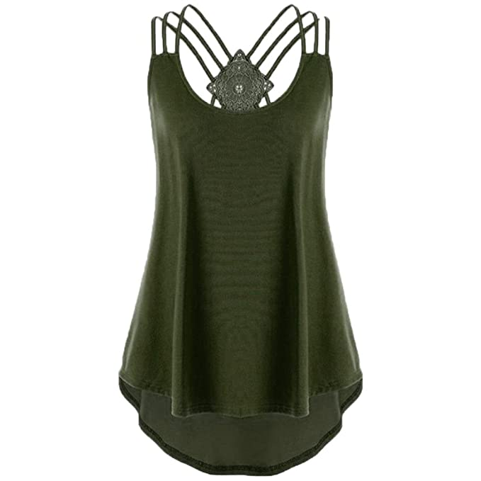 a043f0635dd7 DAYSEVENTH Ladies  Bandages Sleeveless Vest High Low Top Notes Strappy Tank  Tops (12