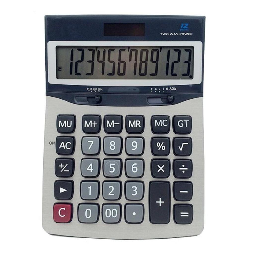 ZHAS Solar Calculator, Dual Power Desktop Calculator, 12 Digits For Office, Shop, School