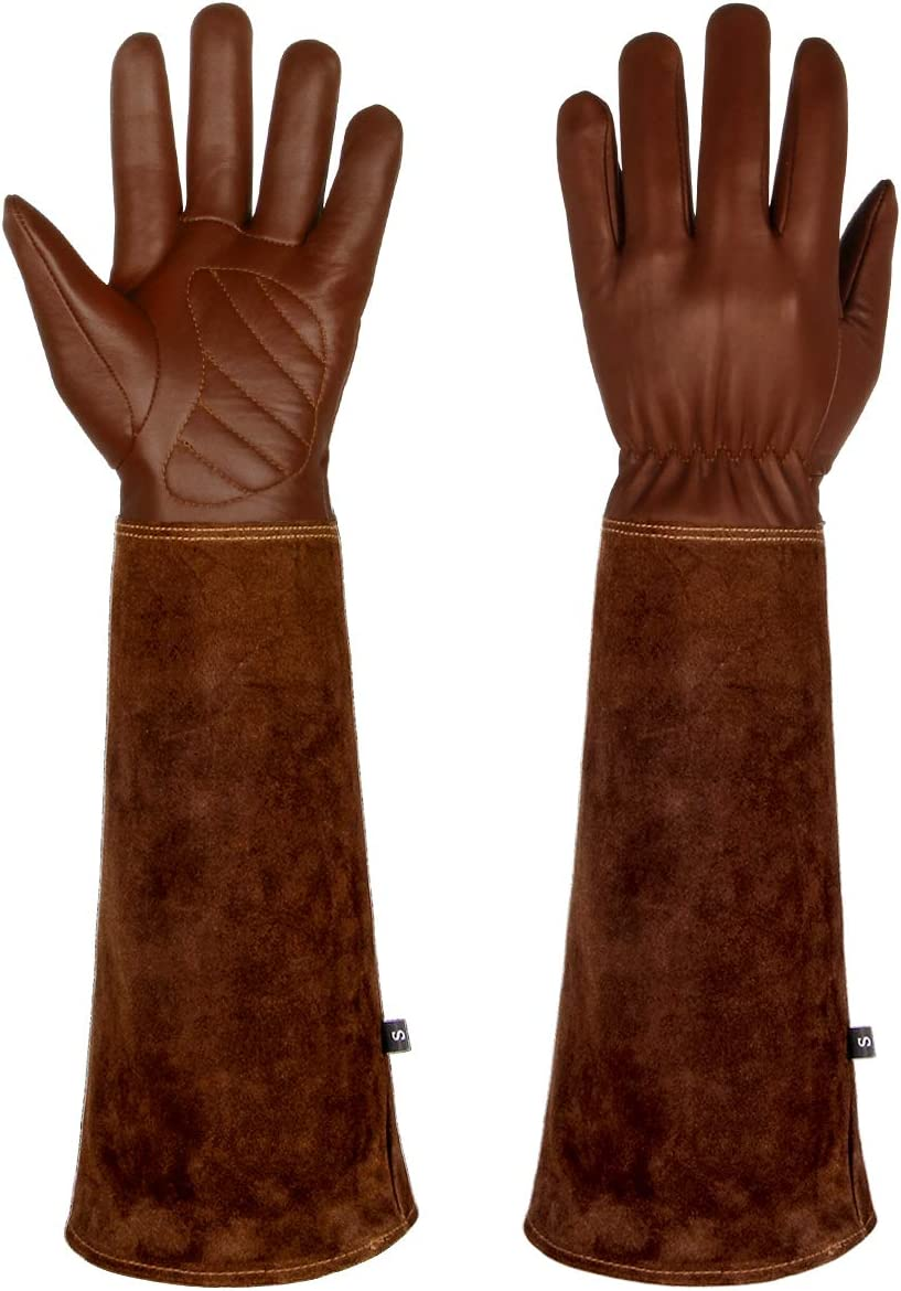 Lalafancy Gardening Gloves for Women and Men, Rose Pruning Thorn & Cut Proof Long Forearm Protection Gauntlet, Breathable Goatskin Leather Work Garden Gloves