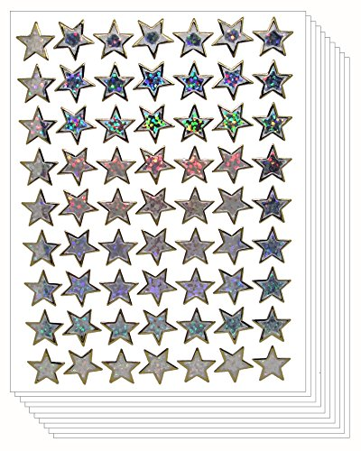Star School Reward Stickers Kid (Silver, 10 (Small Star Face)