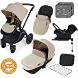 Ickle Bubba Stomp V3 All In One Travel System With Isofix Base, Sand on Black Chassis