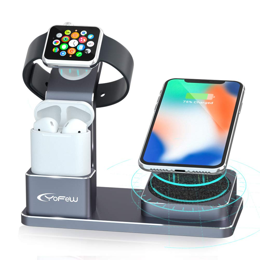 YoFeW Charging Stand for Apple Watch Aluminum Watch Charger Stand Charging Station Dock Compatible for Apple Watch Series 4/3 /2/1 AirPods, 10W Wireless Charger Pad for iPhone XS/X/8/8 Plus by YoFeW