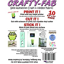 """Crafty-Fab by Vinyl Oasis - Self-Adhesive Craft & Hobby Fabric - Inkjet Printable Peel & Stick Wall Decal Material (10 Sheets) 8.5""""x11"""""""