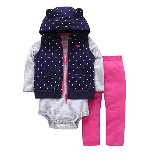 4de16634d Amazon.com  Nevera 3Pcs Baby Girls Dot Print Waistcoat Tops+Pants+ ...