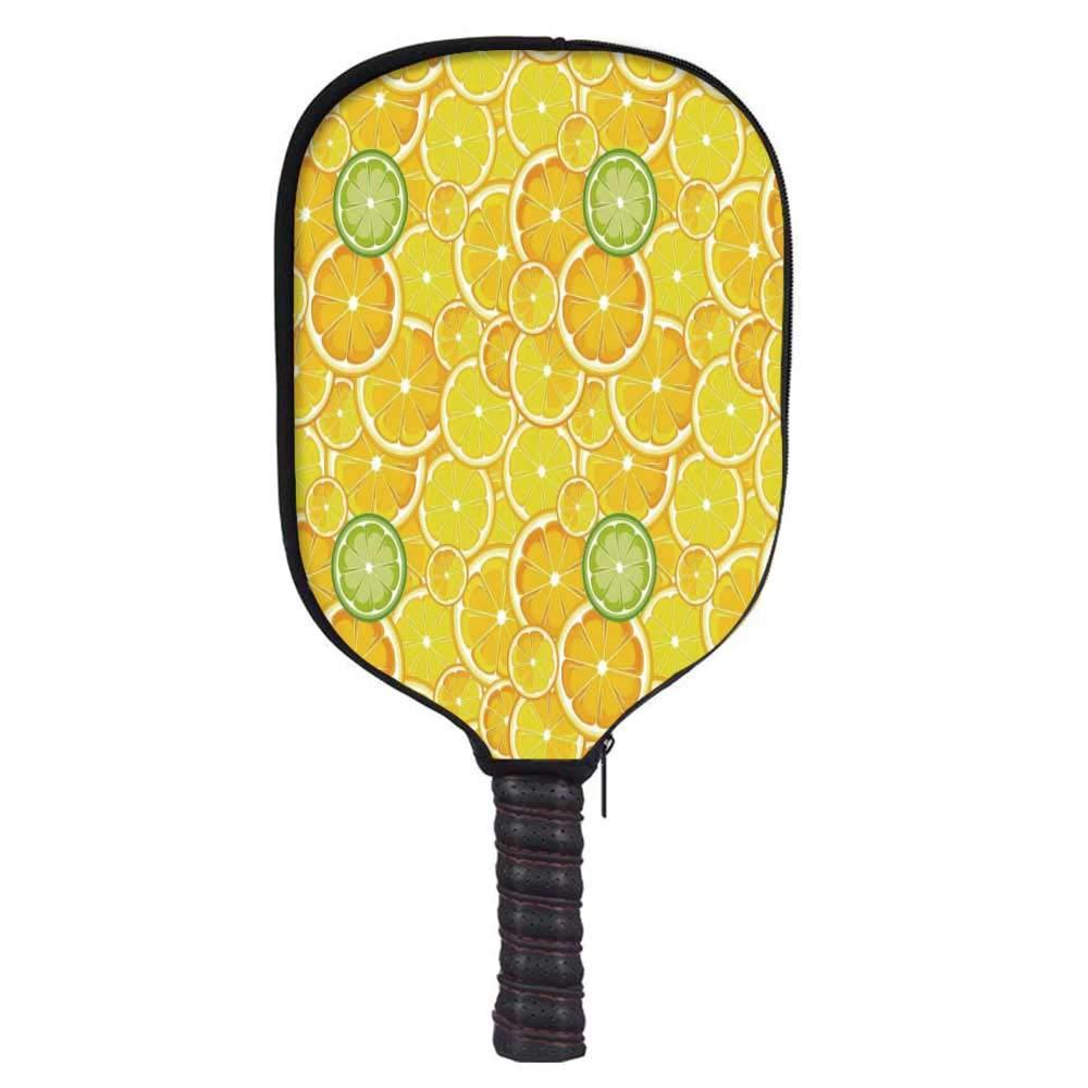 MOOCOM Yellow Decor Fashion Racket Cover,Lemon Orange Lime Citrus Round Cut Circles Big and Small Pattern for Playground,8.3'' W x 11.6'' H