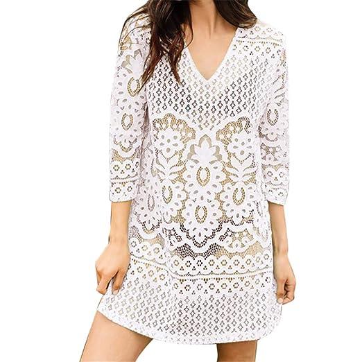 1675544da6 NUWFOR Women Fashion Cover Blouse Tops Lace Suit Bikini Swimwear Beach  Swimsuit Smock(White,