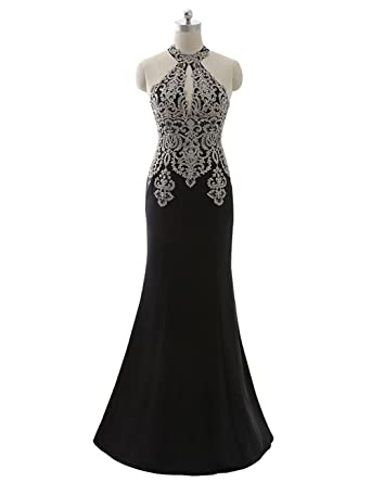 Kings Love Womens Rhinestone Mermaid Evening Dresses Long Formal Party Gowns Black ...