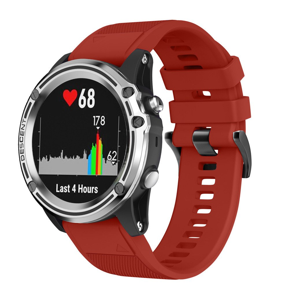 morrivoeシリコンゴム製時計ストラップバンドクイックリリースバンドストラップfor Garmin Descent mk1 Smart Watch  レッド B07C9HR6HZ