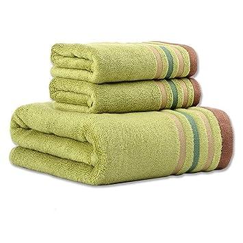 Toalla de Ducha 3pcs Fibra de bambú Toalla de baño de Mano Hoja de baño Toallas Set Toalla de Cara (Color : Green): Amazon.es: Hogar