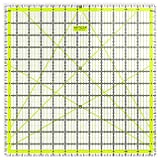 """ARTEZA Quilting Ruler, Laser Cut Acrylic Quilters' Ruler with Patented Double Colored Grid Lines for Easy Precision Cutting, 12.5"""" Wide x 12.5"""" Long for Quilting, Sewing & Crafts, Black & Lime Green"""