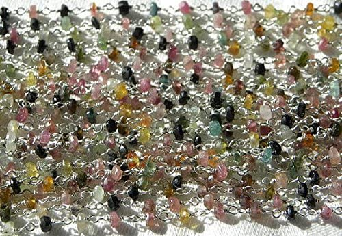 Tourmaline - Cadena de rosario de 3,5 mm con piedras semipreciosas facetadas