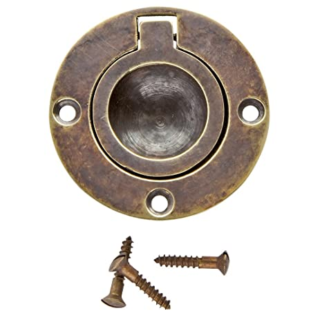 134 in round recessed ring pull antique brass