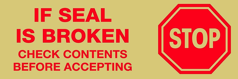 6//Case 2 x 55 yds. Red//White Tape Logic TLT901P016PK Pre-Printed Carton Sealing Tape 2.2 Mil Stop If Seal Is Broken...