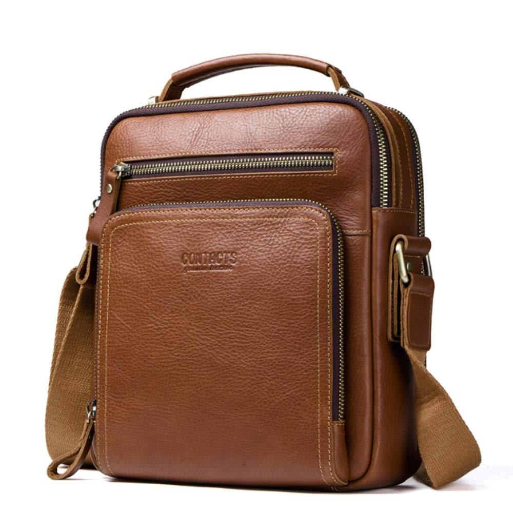 Zhanying Herren-Umhängetasche Fashion First Layer Leder Herren-Tasche Leder Multifunktions Umhängetasche (Farbe   braun, Größe   M)