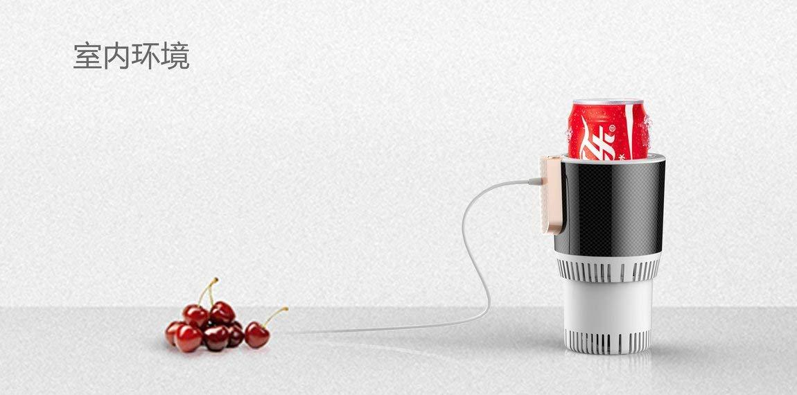 Blanco 73JohnPol Auto Calentamiento del autom/óvil Enfriamiento Lata Portavasos Bebida Puede Calentador Port/átil de Veh/ículo El/éctrico 12V Mini Refrigerador Calentador de Caf/é Calentador