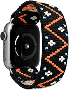 Tefeca Embroidery Polyline Pattern Elastic Compatible/Replacement Band for Apple Watch 38mm/40mm (Silver Adapters, L fits Wrist Size : 7.0-7.5 inch)