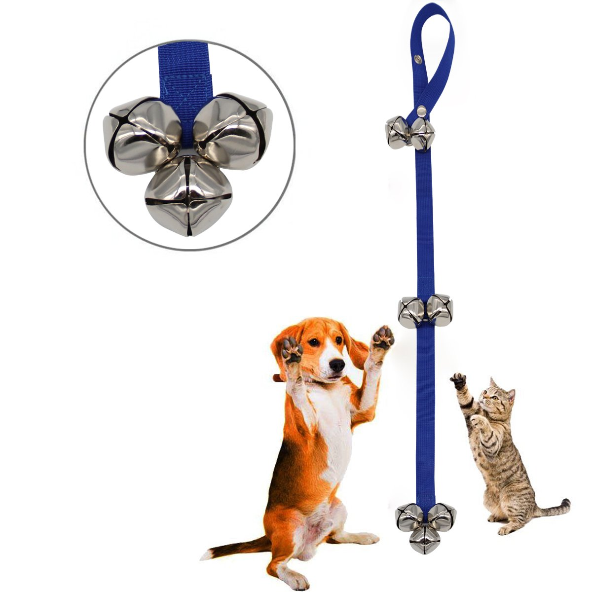 Pet Doorbells Premium Quality Training Potty, Knocking door, Calling, Dog Cat Bells Adjustable Door Bell, for Potty Training, Easy Train, 7 Bells Upgrade ver, by Yamissi (Blue)